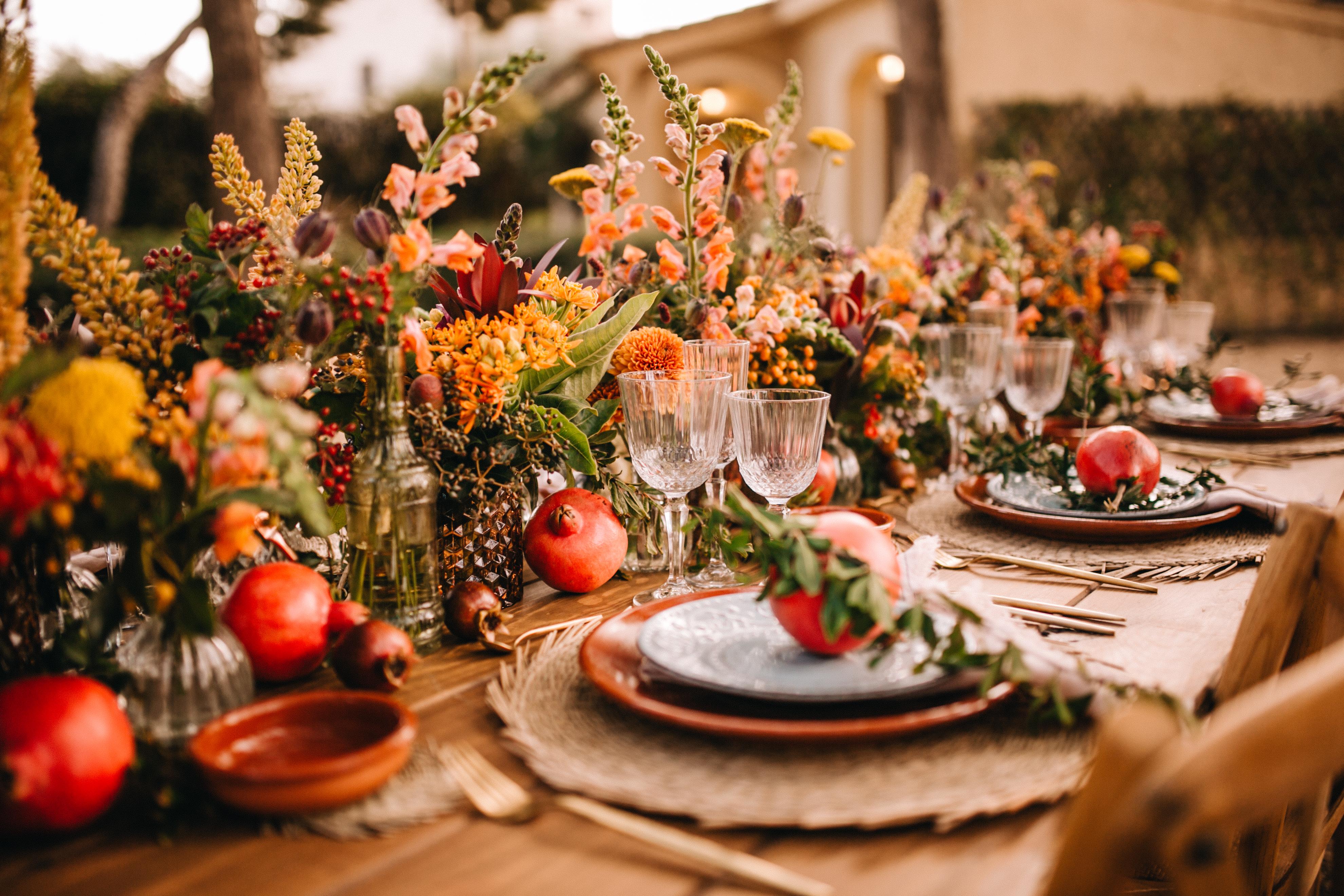 Mesas de otoño rústicas para tu boda
