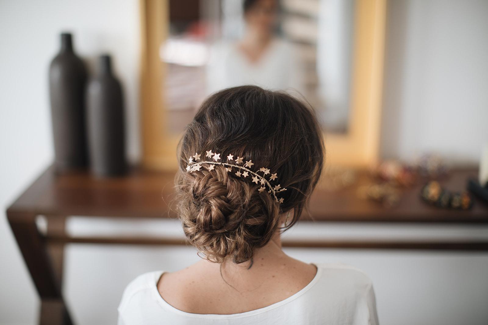 Recogido bohemio para novias desmontable en coleta